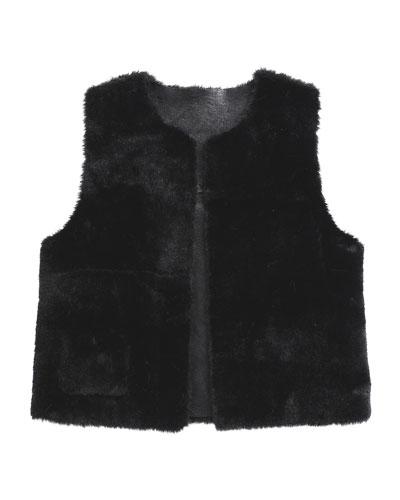 Ellada Faux-Fur Reversible Vest, Black, Size 8-14