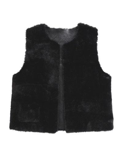 Ellada Faux-Fur Reversible Vest, Black, Size 2-6