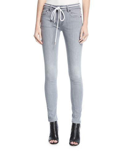 Metallic Diagonal-Striped Denim Jeans