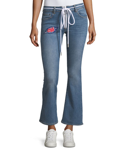 Cropped Zip-Front Denim Jeans