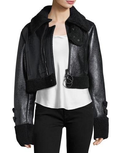 Patent Shearling Fur-Trim Jacket
