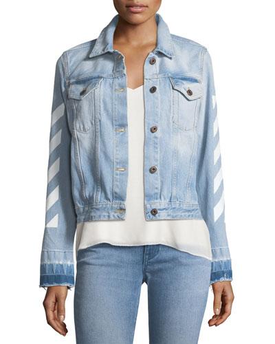 Diagonal-Striped Denim Jacket