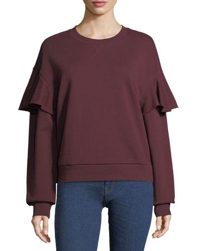 Ruffle-Shoulder Cotton Sweatshirt
