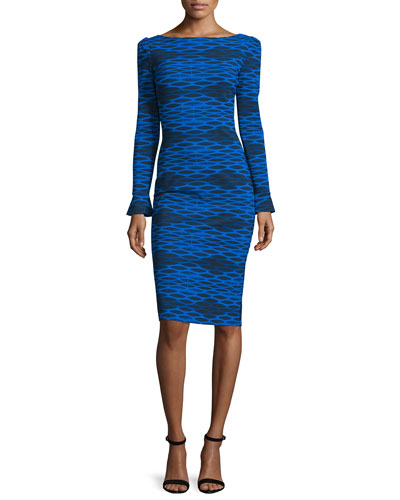 Darsey Geometric-Print Cocktail Dress, Cobalt/Black