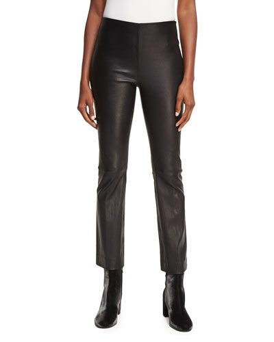 Leather Flare Straight-Leg Pants