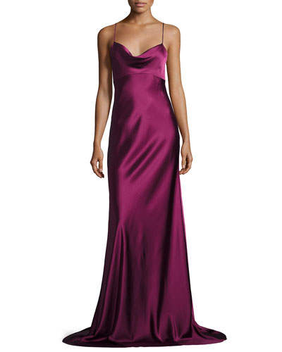 Sleeveless Cowl-Neck Satin Gown