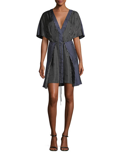 Short-Sleeve V-Neck Tie-Front Striped Dress