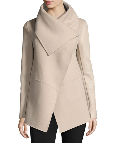 Vane Waterfall Collar Wool-Blend Coat