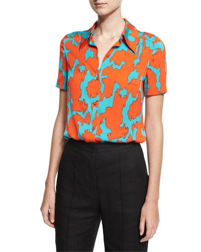 Short-Sleeve Collared Cossier Print Shirt