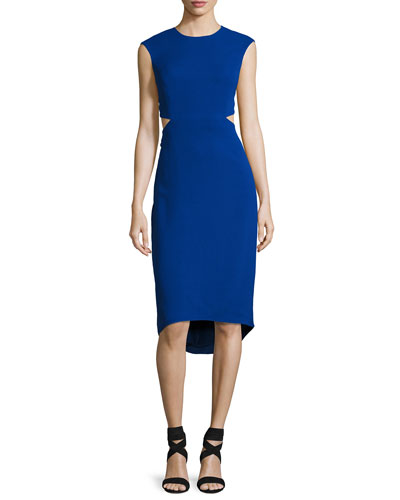 Cap-Sleeve Cocktail Sheath Dress w/ Cutout Back