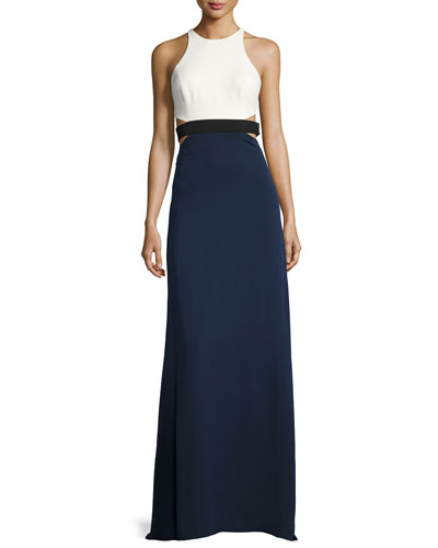 Sleeveless High-Neck Colorblocked Gown w/ Cutouts