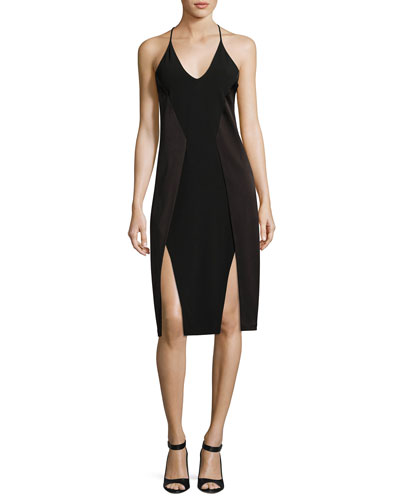 Sleeveless V-Neck Satin Slip Dress