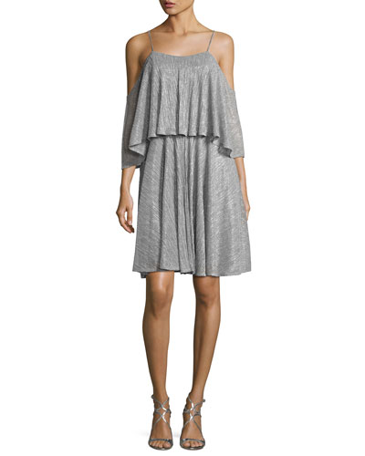 Cold-Shoulder Textured Metallic Flounce Dress, Silver