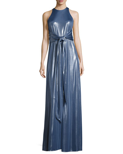 Sleeveless High-Neck Metallic Jersey Gown
