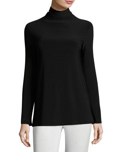 Long-Sleeve Turtleneck Jersey Top