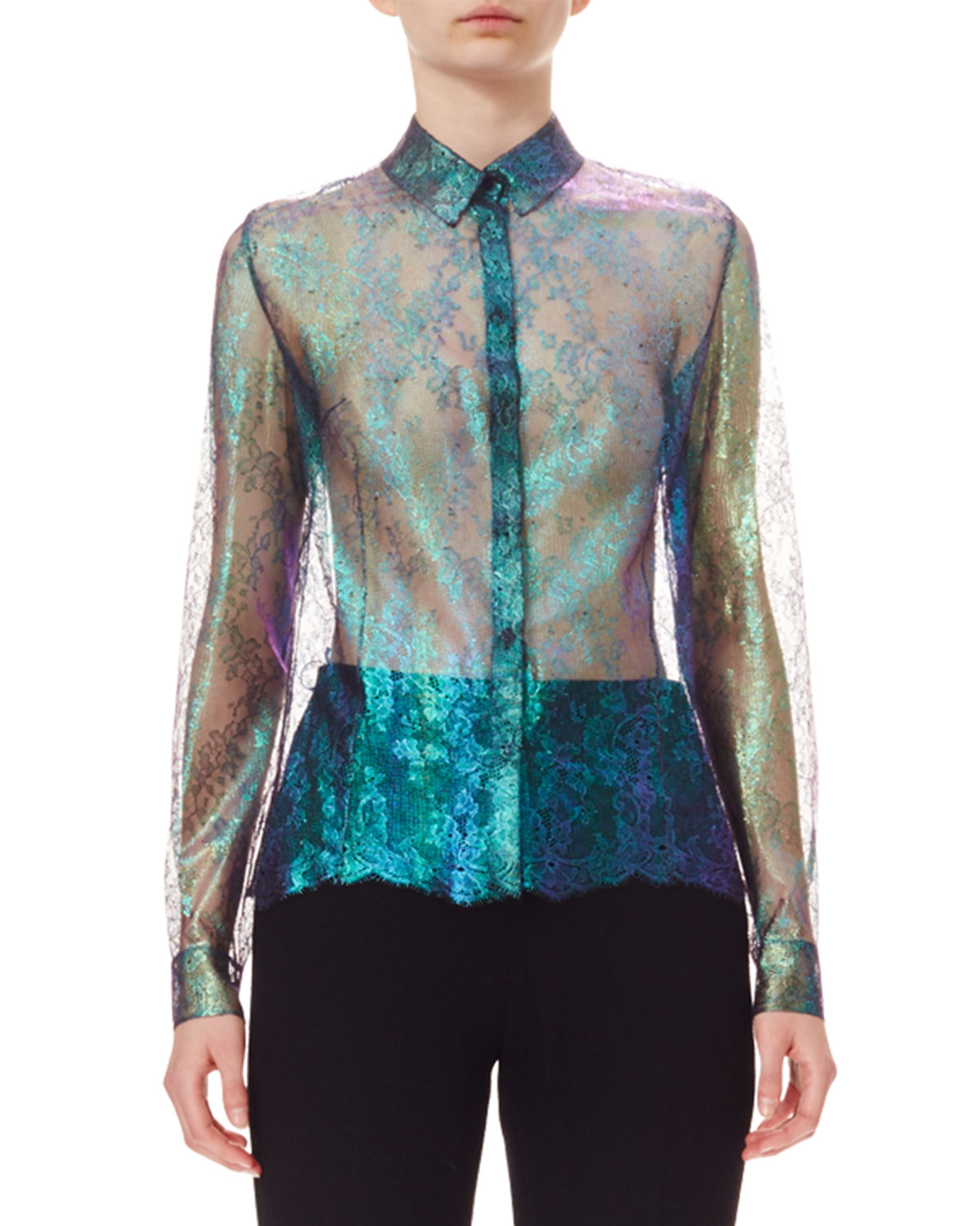 Iridescent Silk Lace Blouse