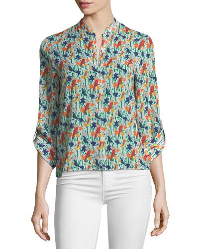 Eloise Mandarin-Collar Printed Blouse