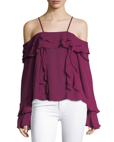 Edie Silk Georgette Cold-Shoulder Ruffled Top