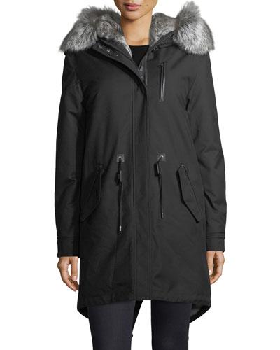 Rena-WX Zip-Front Parka Jacket w/ Fox Fur