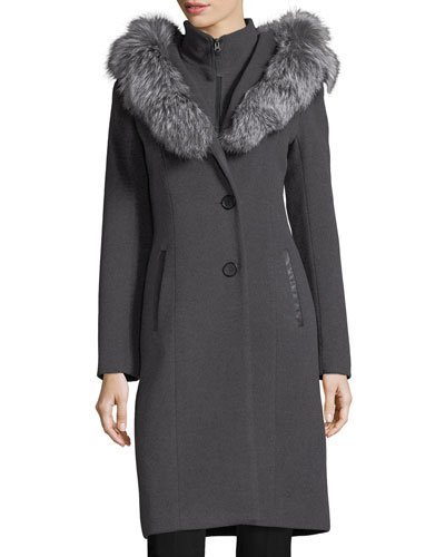 Mila Button-Front Hooded Wool Trench Coat w/ Fur Trim