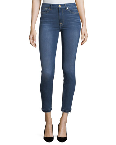 High-Waist Ankle-Skinny Jeans w/ Side Hem Splits