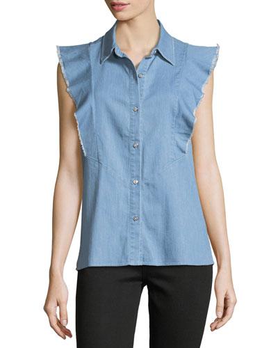 Sleeveless Ruffled Button-Front Denim Shirt