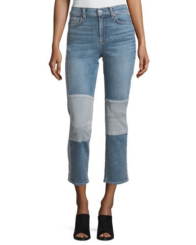 Edie Straight-Leg Denim Jeans w/ Reverse Panels