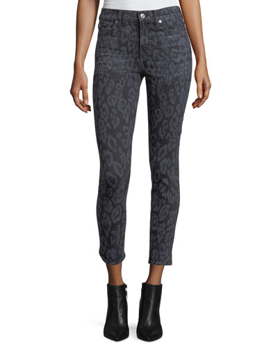 The Ankle Skinny Animal-Print Skinny Jeans