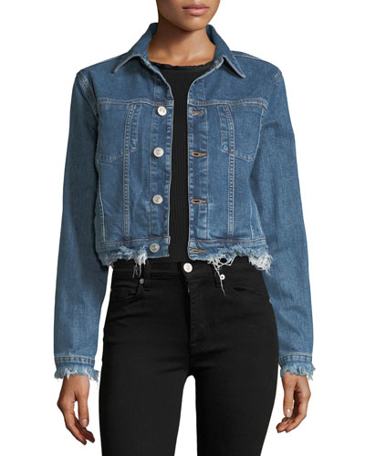 Garrison Button-Front Cropped Denim Jacket