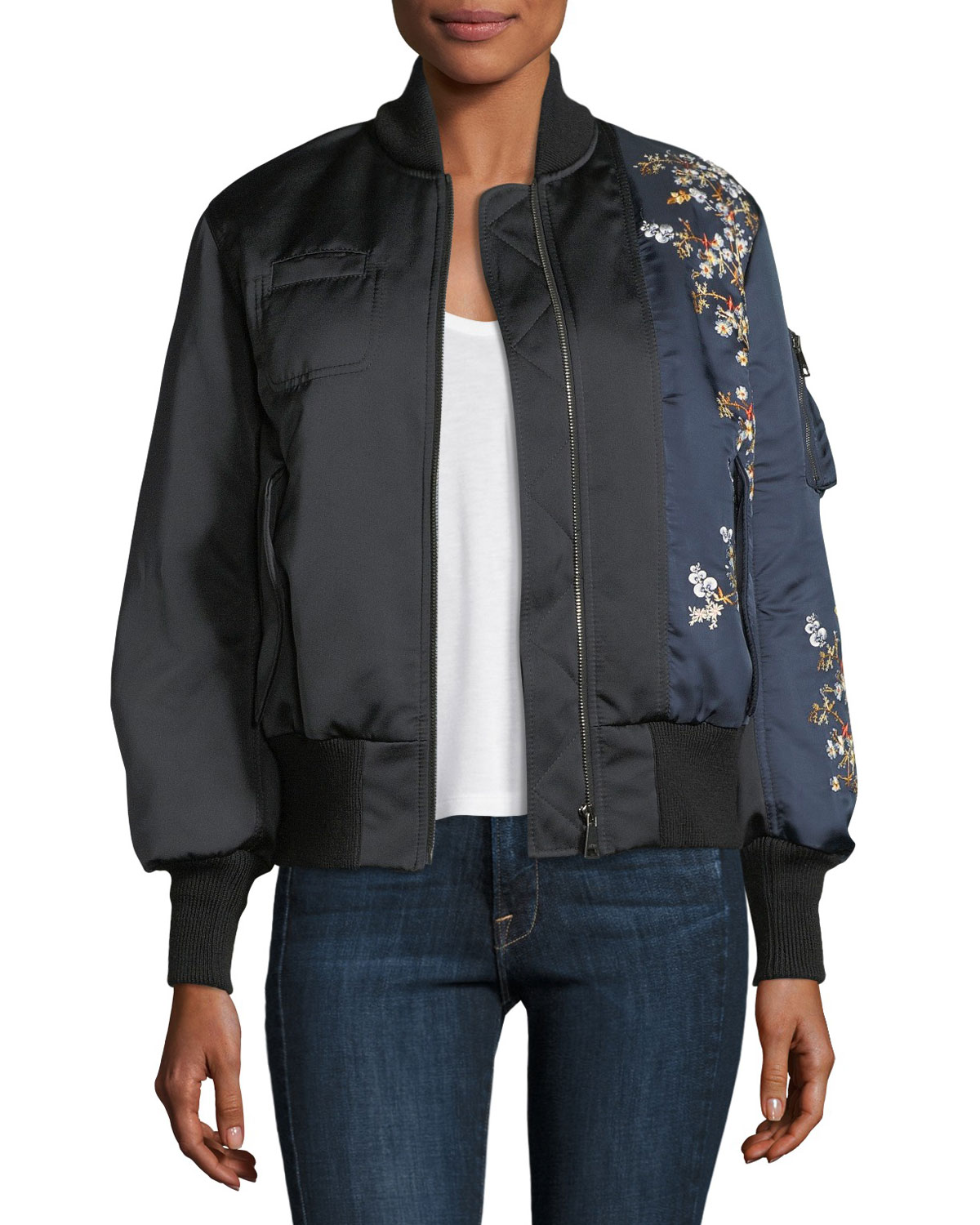 Leila Two-Tone Satin Bomber w/ Embroidery