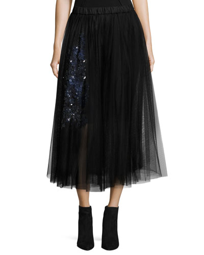 Gabi Silk Tulle Skirt W/ Sequins