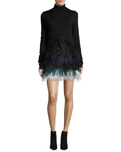 Adelfina Long-Sleeve Feathered Knit Dress