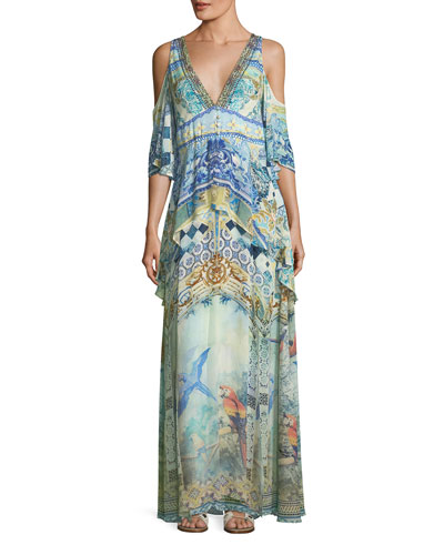 Deep-V Cold-Shoulder Peplum Maxi Coverup Dress