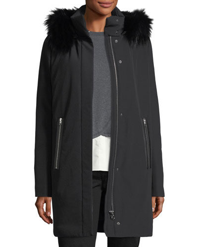 Hooded Zip-Front Stretch-Down Coat W/ Fox Fur Trim