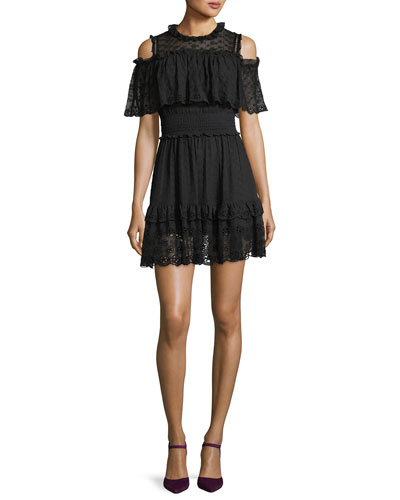 Cold-Shoulder Ruffled Eyelet Silk Mini Dress