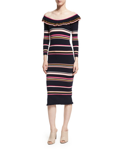 Off-the-Shoulder Striped Rib Midi Dress