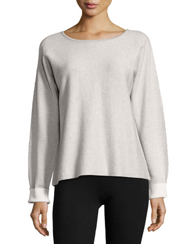 Long-Sleeve Round-Neck Cashmere Blend Sweater