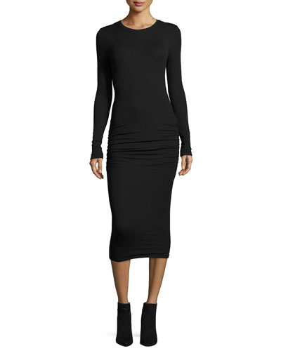 Modal Rib Crewneck Long-Sleeve Midi Dress