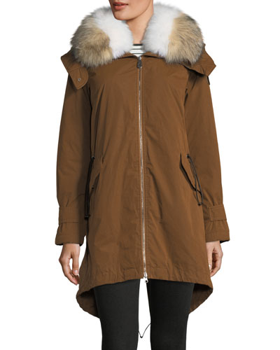 Cuertin Long-Sleeve Hooded Parka Jacket w/ Fur Trim