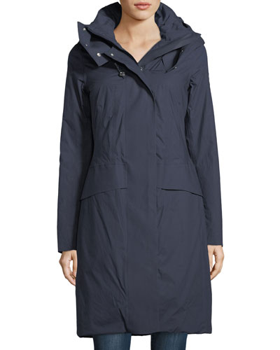 Hooded Long-Sleeve Zip-Front Down Parka Coat