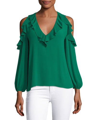 Gia Ruffled Cold-Shoulder Blouse