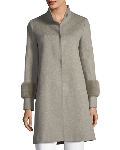 Single-Breasted Wool Coat w/ Mink Cuffs