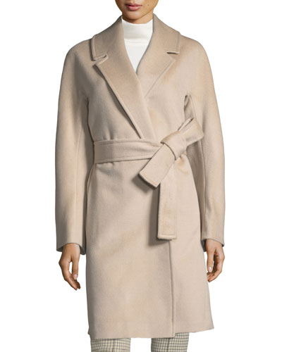 Kimono-Sleeve Notched-Collar Wool Wrap Coat
