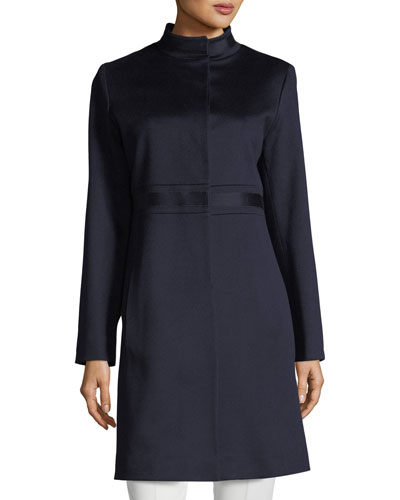 Stand-Collar Banded-Waist Wool Coat