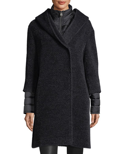 Wool-Blend Coat w/Quilted Puffer Layer