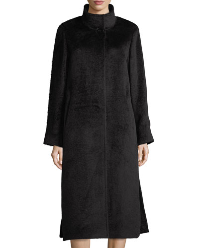 Long Stand-Collar Alpaca-Blend Coat