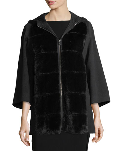 Zip-Front Mink-Trim Coat