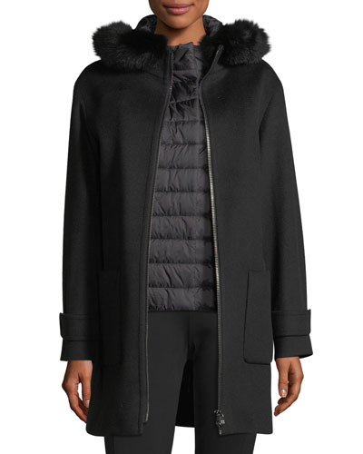 Fur-Trim Wool Coat w/Quilted Puffer Layer