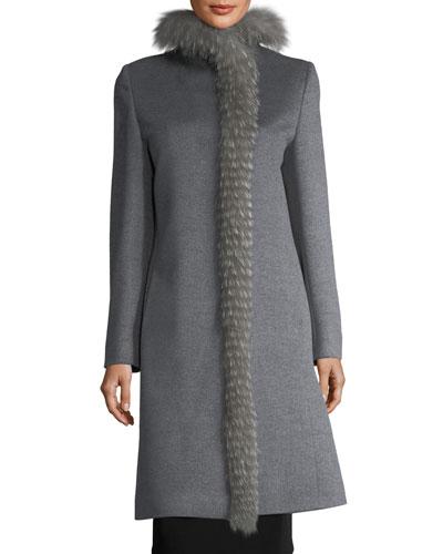 Fox Fur-Trimmed Mid-Length Coat