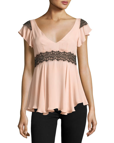 Naeva V-Neck Ruffled Silk Blouse w/ Lace